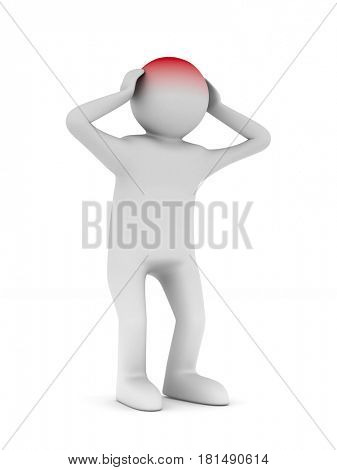 man with headache on white background. Isolated 3D illustration