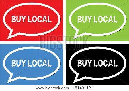 Buy Local Text, On Ellipse Speech Bubble Sign.