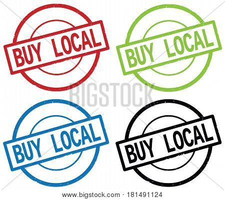 Buy Local Text, On Round Simple Stamp Sign.