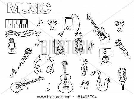 Hand drawn music set. Coloring book page template.  Outline doodle vector illustration.