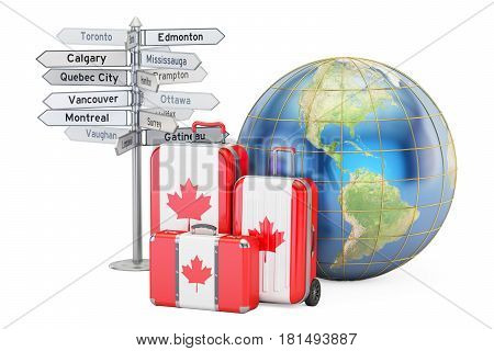 Canada travel concept. Suitcases with Canadian flag signpost and Earth globe. 3D rendering