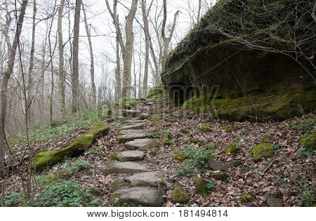 Beautiful trail through Giant City State Park in Illinois