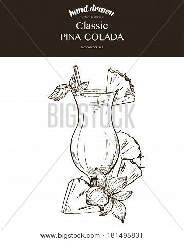Pina Colada. Composition. Vector sketch illustration of cocktails. Hand drawn.
