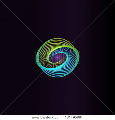 Isolated abstract colorful round shape logo, space element, swirl logotype, planet icon on black background vector illustration.