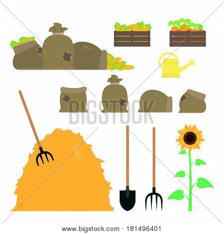 Set of agricultural tools. Shovel, pitchfork, sacks, box