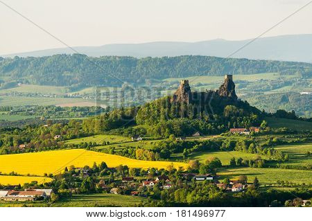 Ruin of Trosky Castle in the Bohemia Paradise on an aerial photograph