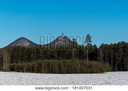 Winter view of Bezdez Castle ruins in North Bohemia