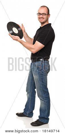 smiling caucasian man holding vintage longplay disc poster