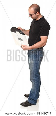 standing man holding vintage lp isolated on white