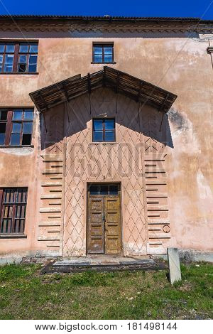 Frontage of desolate building in 19th century military fortress in Daugavpils Latvia