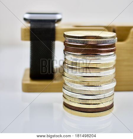 Brass silver and gold coins on the table