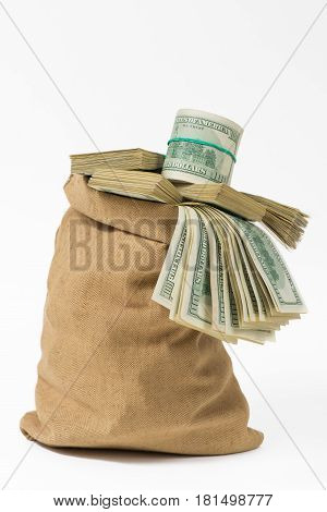 Money in the bag isolated on a white background.