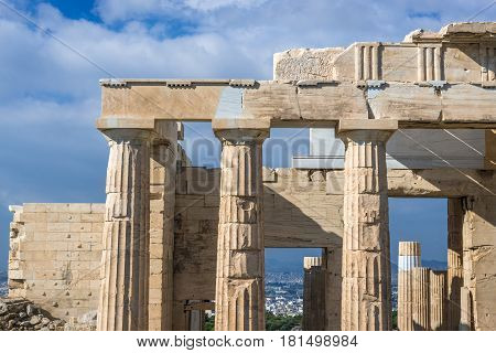 Frontage of Propylaea gateway in Acropolis of Athens Greece