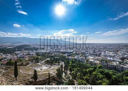 Ruins of Dionysus theater seen from Acropolis hill in Athens Greece