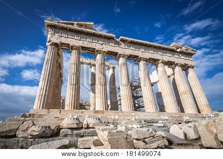 Ancient temple called Parthenon on Acropolis hill in Athens Greece