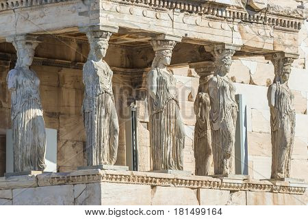 Caryatids statues on a porch of Erechtheion temple in Acropolis of Athens Greece