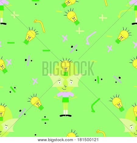 seamless genius cartoon  kid pattern with mathematics symbols and light bulb