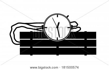 Black And White Candle Stick Bomb Illustration With Clock Timer