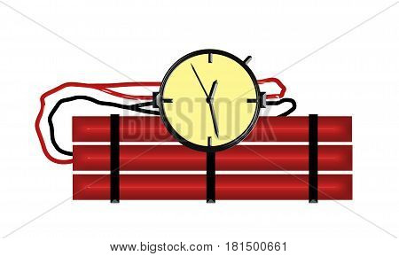 Red Candle Stick Bomb Illustration With Clock Timer