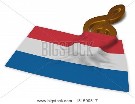 clef and dutch flag - 3d rendering