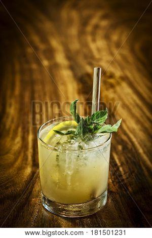 mint julep cocktail drink in modern bar