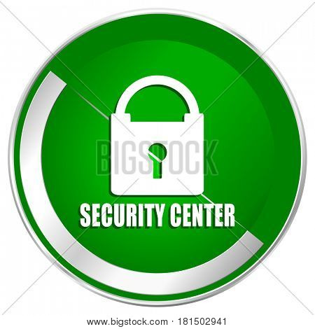 Security center silver metallic border green web icon for mobile apps and internet.