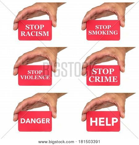 Hands holding and showing red cards with text messages on white background