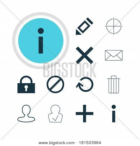 Vector Illustration Of 12 User Icons. Editable Pack Of Access Denied, Positive, Padlock And Other Elements.