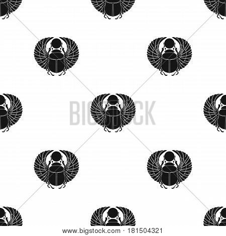 Scarab icon in black style isolated on white background. Ancient Egypt pattern vector illustration.