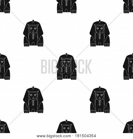 Sphinx icon in black style isolated on white background. Ancient Egypt pattern vector illustration.