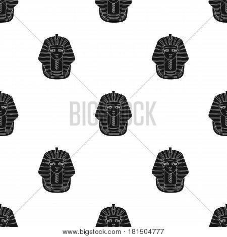 Pharaoh's golden mask icon in black style isolated on white background. Ancient Egypt pattern vector illustration.