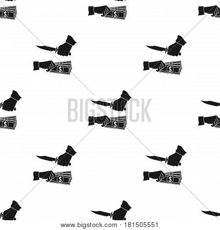 Robbery icon in black style isolated on white background. Crime pattern vector illustration.