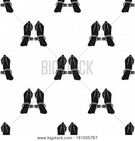 Hands in handcuffs icon in black style isolated on white background. Crime pattern vector illustration.