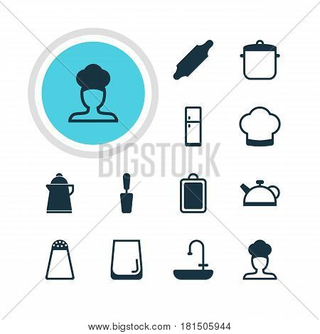 Vector Illustration Of 12 Cooking Icons. Editable Pack Of Pepper Container, Teakettle, Bakery Roller And Other Elements.