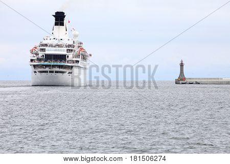 Large Cruise Ship At Sea In Gdynia Poland
