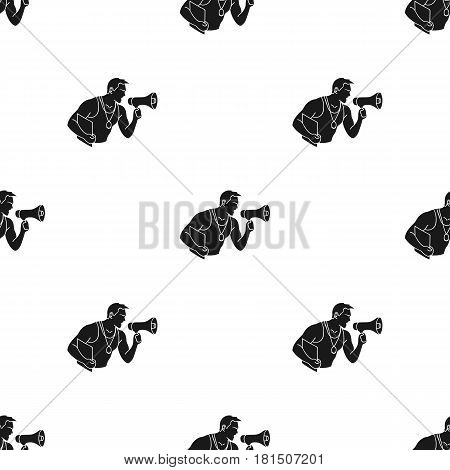 Personal trainer icon in black style isolated on white background. Sport and fitness pattern vector illustration.
