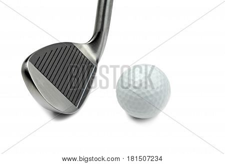 Golf club and ball on white background