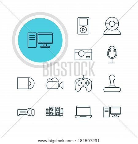 Vector Illustration Of 12 Hardware Icons. Editable Pack Of Floodlight, Loudspeaker, Game Controller And Other Elements.