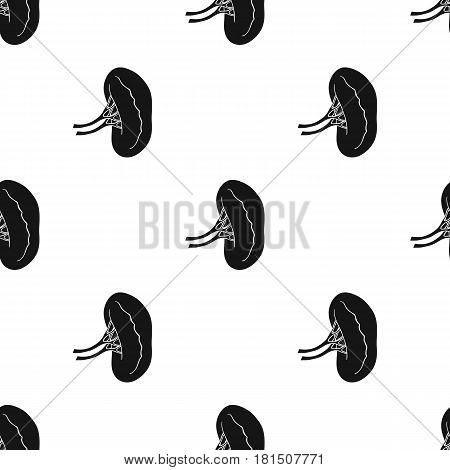 Human kidney icon in black style isolated on white background. Human organs pattern vector illustration.