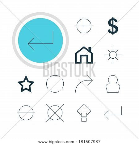 Vector Illustration Of 12 Interface Icons. Editable Pack Of Share, Sunshine, Money Making And Other Elements.