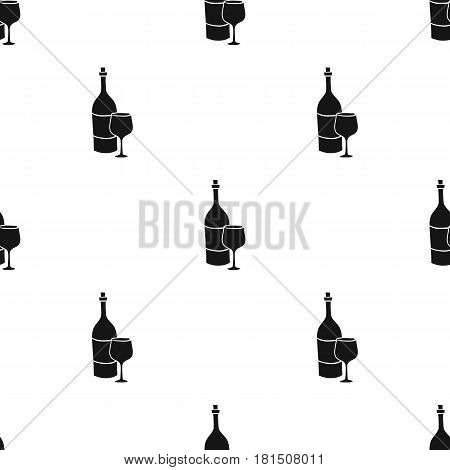 Italian wine from Italy icon in black style isolated on white background. Italy country pattern vector illustration.