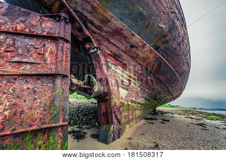 Closeup Of Abandoned Shipwreck On Shore In Fort William, Scotland