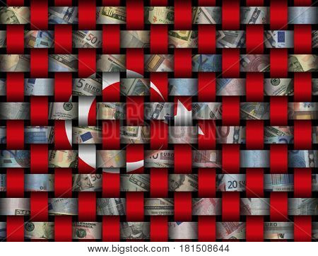 Interwoven Turkish flag and currency 3d illustration