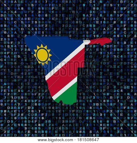 Namibia map flag on hex code 3d illustration