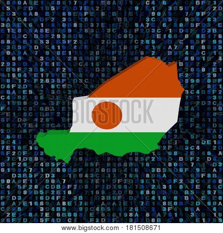 Niger map flag on hex code 3d illustration