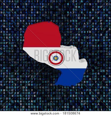 Paraguay map flag on hex code 3d illustration