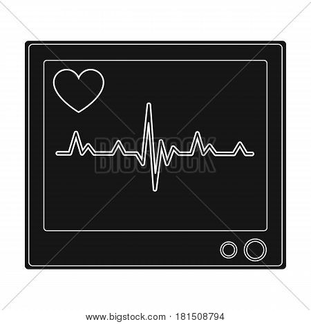 Medical monitor.Medicine single icon in black style vector symbol stock illustration .