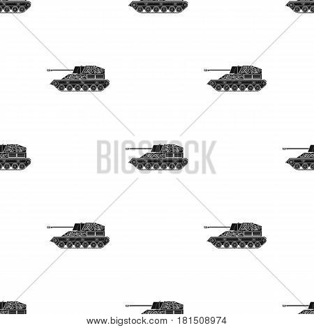 Military tank icon in black style isolated on white background. Military and army pattern vector illustration