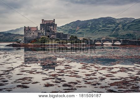 Breathtaking Dusk Over Loch At Eilean Donan Castle In Scotland