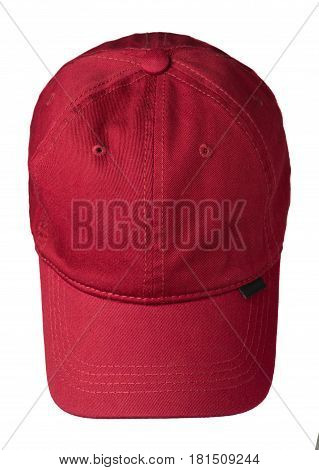 Hat Isolated On White Background. Hat With A Visor .red Hat